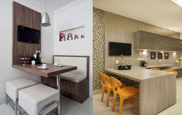 Outro ambiente em que é comum utilizarmos um painel para TV, é na cozinha