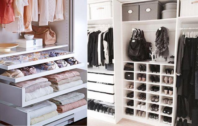 E caso você não tenha uma sapateira individual, é bacana buscar um guarda-roupa que contenha uma parte destinada aos sapatos