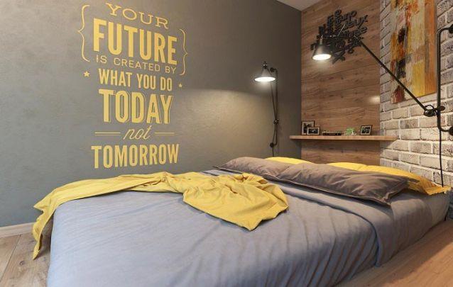 Três paredes distintas criam um quarto de adolescente contemporâneo