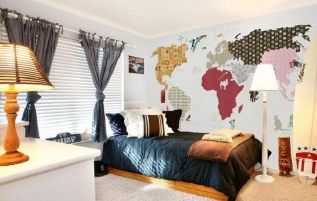 Ótima opção para criar um quarto de adolescente masculino, para aqueles que gostam de surf e viagens