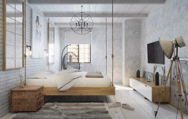 A cama suspensa é o charme deste design