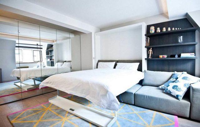 Uma cama embutida pode ser uma solução para um ambiente multiuso