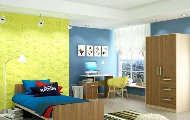 A parede estilizada com um cor diferente é o destaque deste ambiente