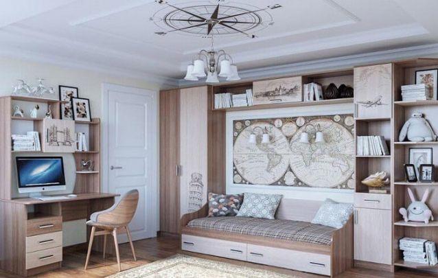 Uma opção de quarto de adolescente para aqueles que adoram viajar