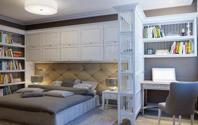 A estante vazada é uma ótima alternativa para separar a área de descanso da área de estudos do quarto
