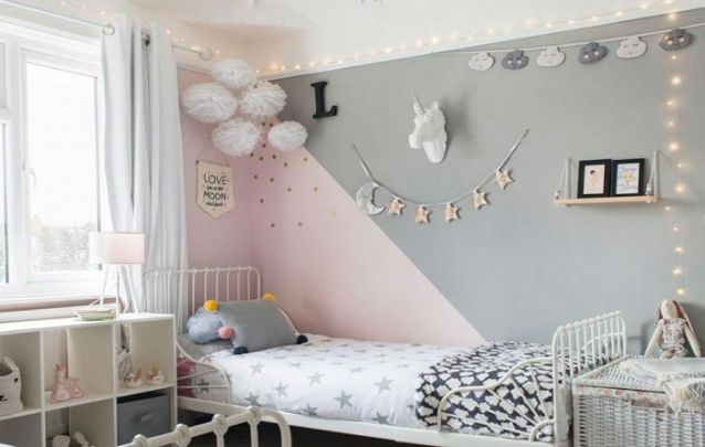 Cinza e rosa, uma combinação contemporânea para a decoração de quarto de menina