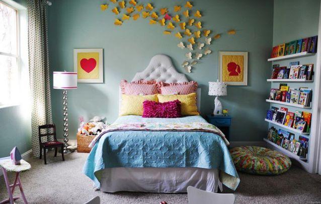 Utilize os livros de sua filha na decoração, além de decorar o ambiente, estimula o ato da leitura