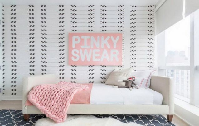 Papel de parede clean e contemporâneo para um quarto de menina