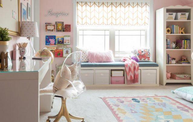 Um cantinho para estudos é essencial em um quarto infantil