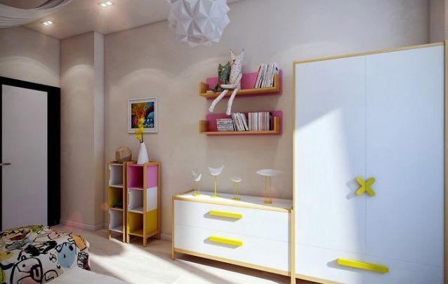 Os acabamentos dos móveis trazem um toque moderno e lúdico ao espaço