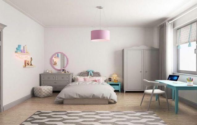O cinza e suas nuances são ótimas cores para compor a base da decoração de um quarto de menina