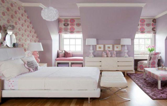 Branco, rosa e lilás, uma combinação sem erros para um quarto de menina