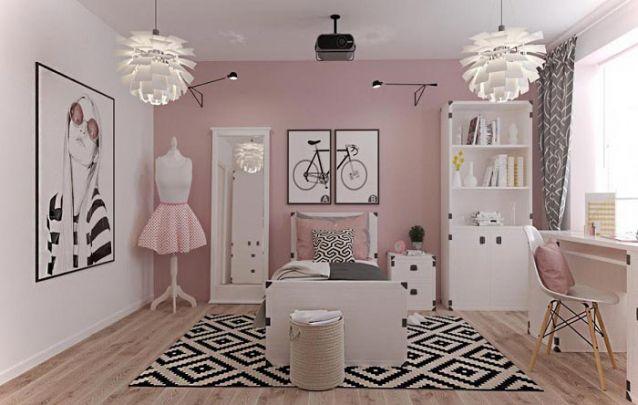 Uma decoração de quarto de menina elegante e feminina para quem vive na moda