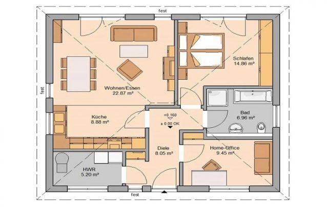 Uma opção entre plantas de casas pequenas, com piso único, possui 1 quarto e 1 banheiro