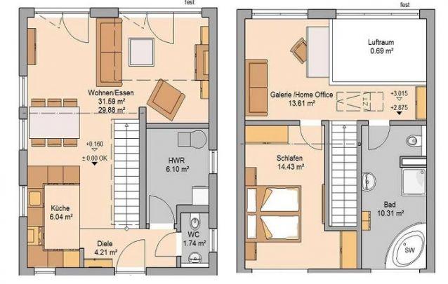 Planta de casa com dois andares, possui 1 quarto e 2 banheiros, sendo um deles lavabo
