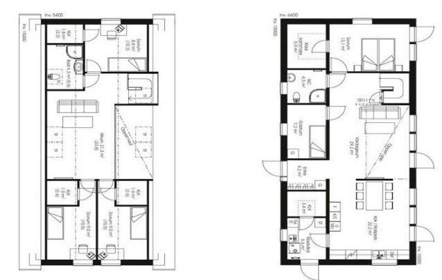Uma planta com dois pisos, que possui 5 quartos e 2 banheiros