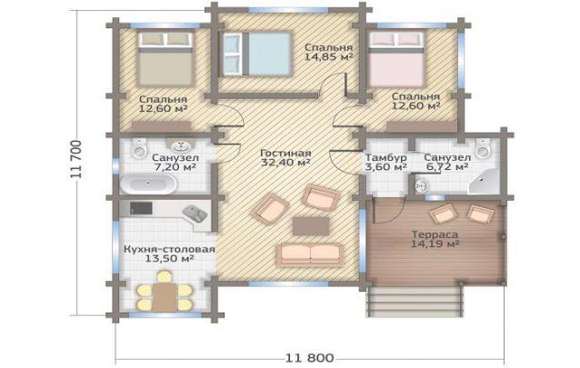 Uma opção entre plantas de casas com 3 quartos simples em piso único