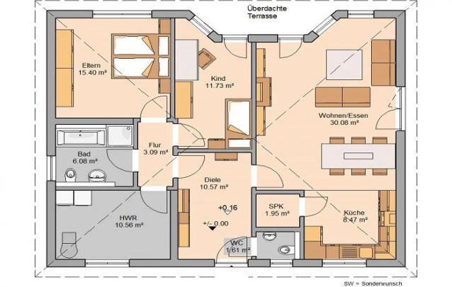 Está em busca de plantas de casas pequenas com 2 quartos? Esta é uma boa alternativa