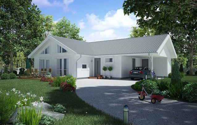 Planta de casa com 2 quartos, 2 banheiros e uma garagem