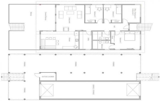 Aqui está uma planta de casa diferenciada, onde o 1° andar é suspenso