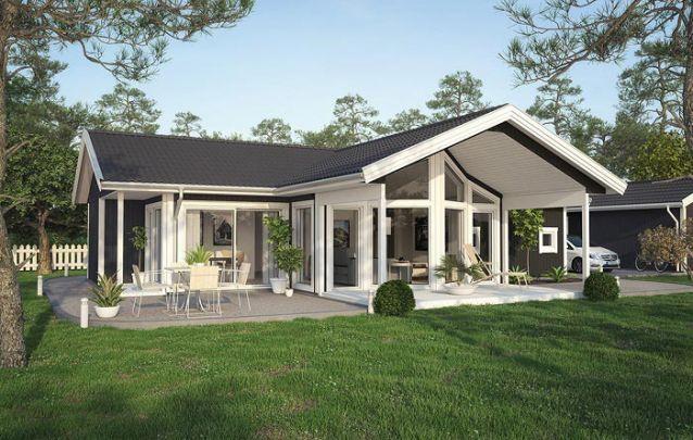 Uma opção de planta de casas com 3 quartos com estilo clássico