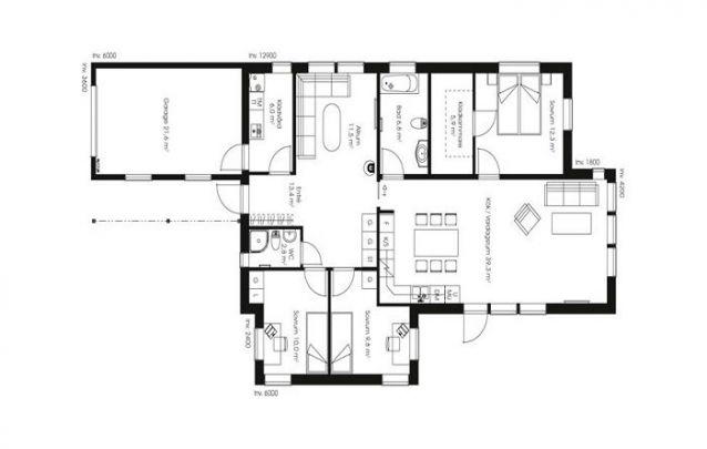 Planta de casa com uma suíte, 2 quartos e 1 banheiro