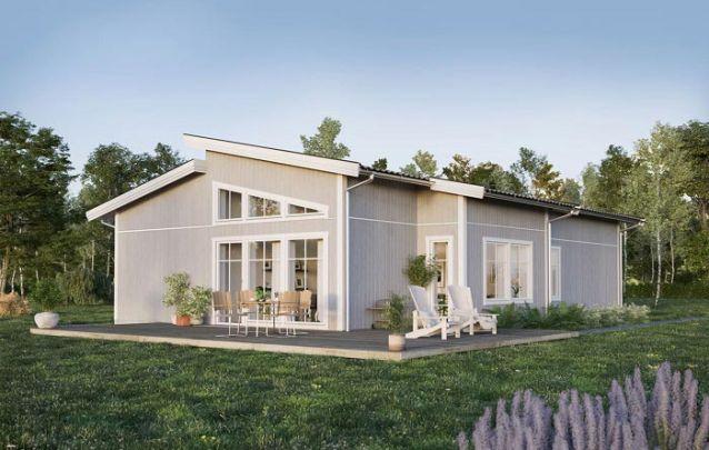 Planta de casa em piso único, com 3 quartos e 2 banheiros