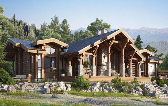 Esta casa possui uma planta em um arranjo diferenciado, e sua fachada, segue um estilo rústico sofisticado