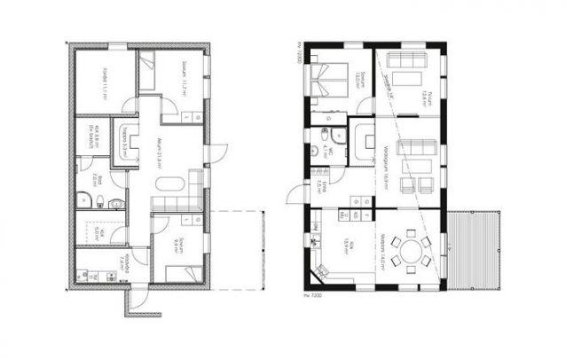 Planta de casa com dois pisos, 3 quartos e 2 banheiros