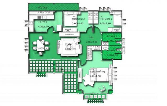 Aqui está uma planta de casa tradicional, com 1 suíte, 2 quartos e 1 banheiro