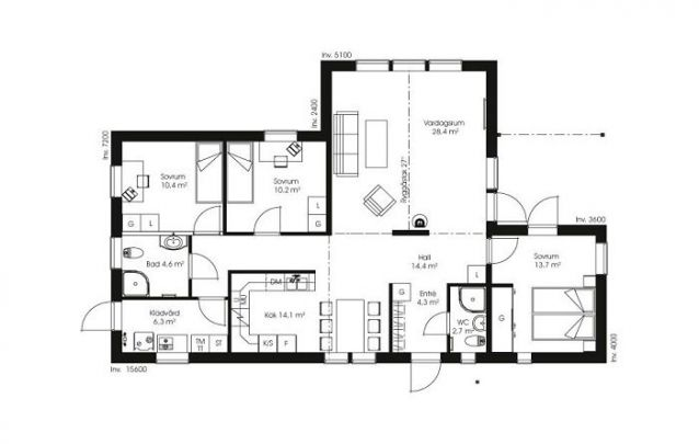 Planta de casa térrea com 3 quartos e 2 banheiros