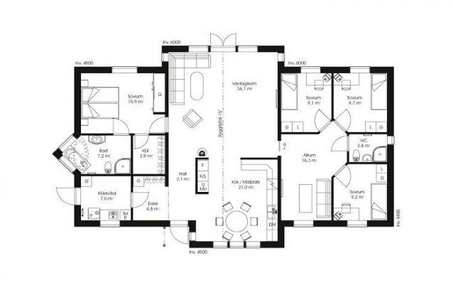 Uma planta de casa para famílias grandes, conta com uma suíte máster, 3 quartos 1 banheiro, e área social ampla