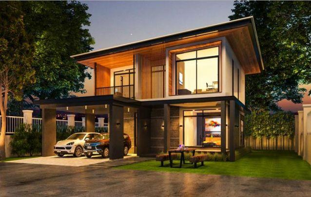 Casa moderna de dois andares, possui 1 suíte, 3 quartos e 2 banheiros