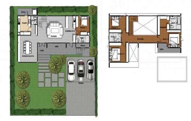 Casa moderna em L, conta com 2 suítes, 2 quartos e 1 banheiro