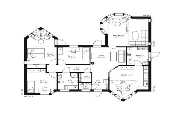 Esta planta de casa com 3 quartos e 2 banheiros, mescla o design clássico com o contemporâneo