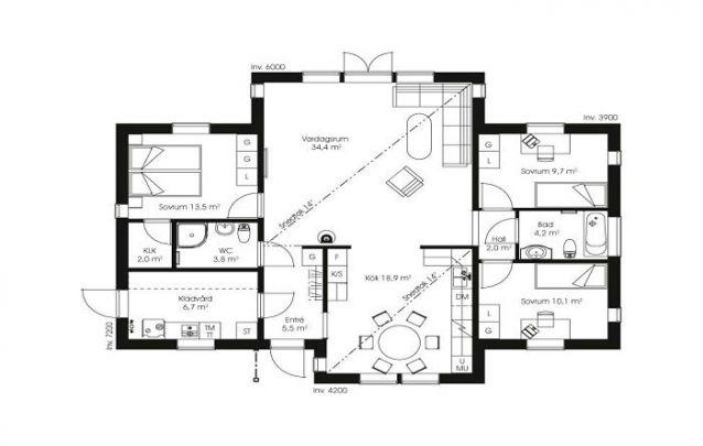 Planta de casa com conceito aberto entre cozinha, sala de jantar e sala de estar