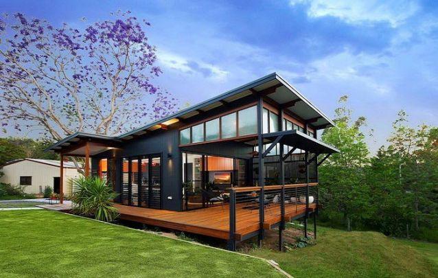 Planta de casa com uma sacada coberta para aproveitar a vista