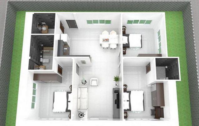 Planta térrea moderna com 2 suítes, 1 quarto e 1 banheiro