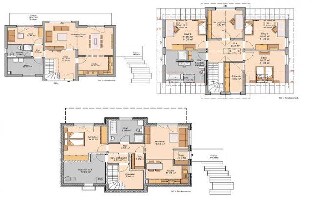 Planta de casa com 3 pisos, onde um deles pode ser alugado como uma unidade independente
