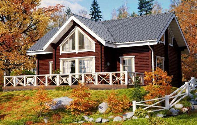 Um modelo de casa com 4 quartos e 2 banheiros e uma cozinha em conceito aberto