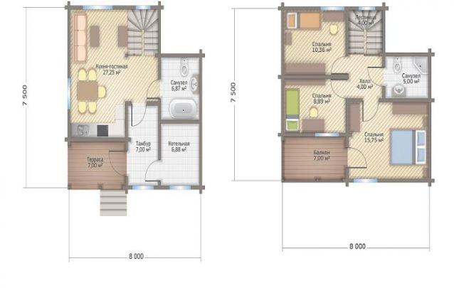 Planta de casa tradicional com dois andares, 3 quartos e 2 banheiros