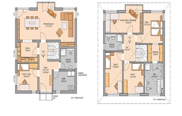 Aqui está um modelo moderno dentre plantas de casas com 4 quartos