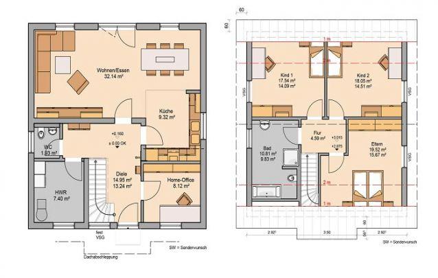 Com estilo tradicional, esta planta traz 3 quartos, 2 banheiros e conceito aberto na área social