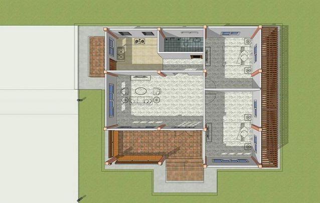 Mais um modelo para se inspirar se você busca plantas de casas pequenas com 2 quartos