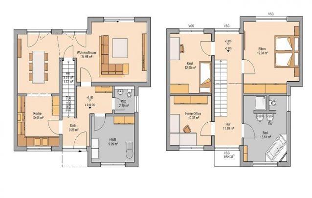 Pequena casa de dois andares, com 2 quartos e 2 banheiros