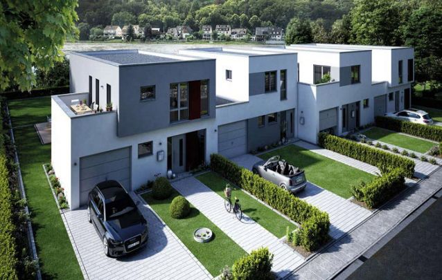 Esta é uma opção para quem está em busca de plantas para casas geminadas de dois andares