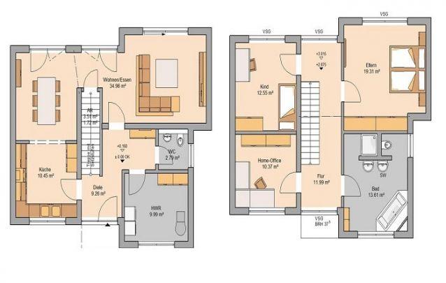 Plantas de casas com 2 quartos são ótimas para uma família pequena