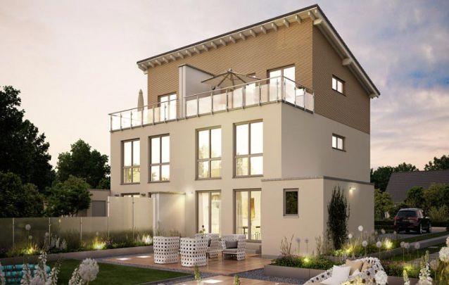 Já está planta de uma casa geminada conta com 3 andares, área social no 1° piso, 2 quartos e 1 banheiro no 2° piso e 1 suíte na cobertura