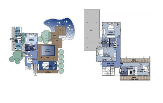 Uma planta de uma grande casa, que une amplas áreas de lazer, área social e área íntima