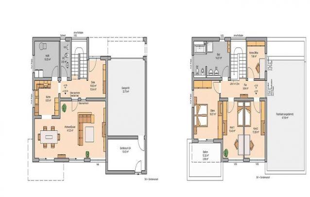 Esta planta de casa minimalista conta com 3 quartos e 2 banheiros